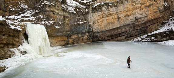 Kosovo Mirusha Waterfalls in winter time
